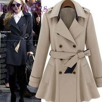 Women Fashion Slim Double Breasted OL 2014 Autumn and Winter Coat Trench Long Coat Femininos Outerwear Female Jacket PH1904