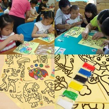 10Pcs Colorful Sand Art Painting Drawing Picture Sets Kid Children Education Intelligence DIY Toy Study Fun(China (Mainland))