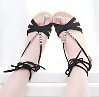 2014 new Korean fashion casual shoes strap beaded flat shoes low-heeled open-toed sandals shoes slip