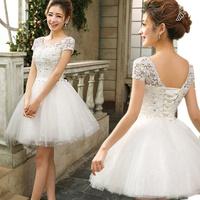 D134 vestido de noiva 2014   fashionable short mini lace short sleeves beads lace up        wedding dress bride bridal gown