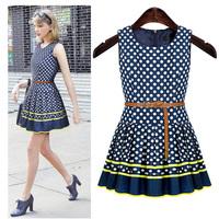 summer 2014 new casua fashion dot  frill  feminine print  Round Neck sleeveness vest dress for  women  S--XL