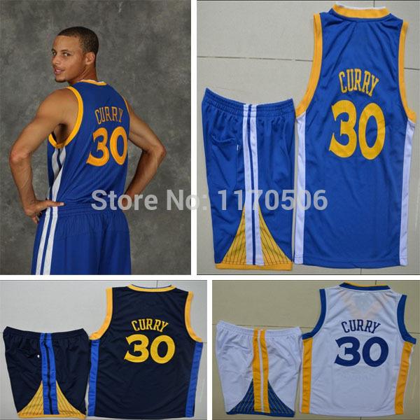 Free Shipping 2014 Golden State California Kids Boys Children #30 Stephen Curry basketball jersey and shorts set blue white dark(China (Mainland))