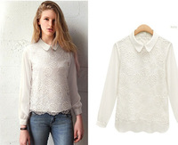 WST012  Free Shipping 2014  new arrival European Style fanshion women casual spring Chiffon lace  hot sale quality  retail