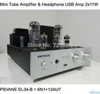 Vacuum Tube Amplifier & Headphone USB Amp Integrated 2x11W PSVANE EL34-B Power Amplifier 6N1 preamp12AU7 Driving HIFI