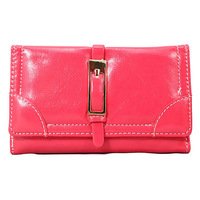 Rose red !!  New 2014 European and American Style soft Leather  Women Wallet Card Purse hasp Handbag  Free shipping