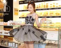 2014 new fashion high quality  Eugen yarn dress women  summer dress lace dress women 8048