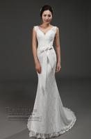 D136 Free shipping 2014  fashion mermaid small train lace bow customized zipper wedding dresses bridal bride ball gowns dress
