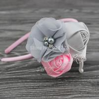 MOQ 1pcs Sweet satin rose flower hairband chiffon flower with pearl Rhinestone hair accessory Baby girl headband