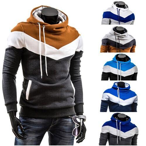 Freeshipping 2015 Autumn&Winter Men's Slim Mixed Colors Thicker Fleece Hooded Pullover Sweatshirt Men Coat,Men Casual Jacket(China (Mainland))