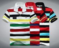 cotton short-sleeved T-shirt lapel stripe shark summer menswear brand t shirts free shipping