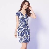 #842 Free Shipping New Arrival Summer Dresses Woman Short sleeve Flower Dress Printed Dresses V-neck Dress