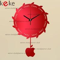KEKE BRAND!Original design Apple hanger pendulum clock hang clock wall decoration Acrylic Mirror clock,Free shiping!