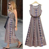 summer 2014 new casua fashion Retro bohemian long section Sleeveles  round neck  Elastic waist print vest dress for women S--XL