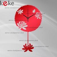 KEKE BRAND!Original design Lotus pendulum clock hang clock wall decoration Acrylic Mirror clock,Free shiping!