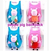 1pcs Free shipping 2014 New children school bag children cartoon bag peppa pig bag for Girls Boys Cartoon School Bag