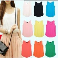 Free Shipping 2014 NEW Women Slim Fit Chiffon Blouses Top Vest Shirts Trendy Shirt size;M/L/XL D596