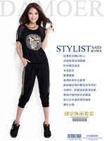 Women Plus Size 3XL-6XL Black Printing Summer Suit Set Detachable 2pcs Tracksuit Free Shipping d66200