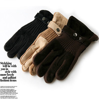 new winter 2014 thermal pigskin male leather plus velvet thickening gloves mens driving gloves free shipping