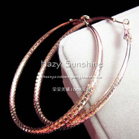 2014 Fashion accessories luxury sparkling big Round Rose gold Hoop earrings jewelry for women free shipping