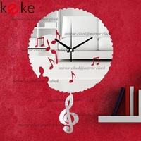 KEKE BRAND!Original design 30cm diameter music pendulum clock hang clock wall decoration Acrylic Mirror clock,Free shiping!