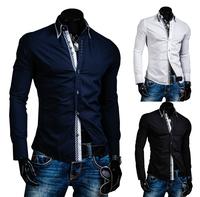 Placket Plaid Contrast color Decoration Casual Long-sleeved men's shirt