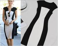 9945 Women Summer Dress 2014 Black And White Patchwork Sleeveless Bandage Casual Dress Women V-neck Party Dresses Vestidos