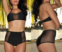 2014 Sexy Mesh Swimsuit High Waist Swimwear Vintage Bikinis Women Retro Biquini Sexy See Through Swimsuit For Women 24604
