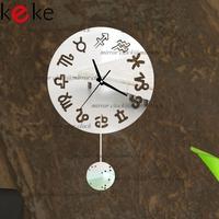 KEKE BRAND!Symbol Constellation pendulum clock hang clock wall decoration Acrylic Mirror clock,Free shiping!