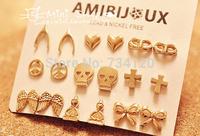 EX142 mix wholesale factory fashion cute wishing bone , heart , mask , peace , bow ,anchor,Skull, wing stud earrings for women