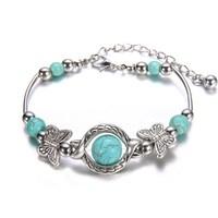 (Min order $10) Tibetan Silver Victoria Style Turquoise Bracelet Vintage Retro Cocktail Jewellery Handmade Gifts