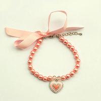 Armi store Handmade Dog Cats Rhinestone Fashion Lovely Pink Love Bow Necklace 51015 Free Shipping