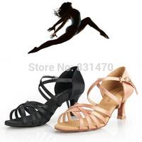 Fashion women sexy high heel satin ballroom shoes latin dance shoes salsa shoes black/flesh free shipping