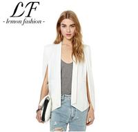[xs-xxl] Unique Slitting Sleeve Design Women Slim Suit Coat Black White Pink Blazers