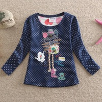 Fashion Navy Dotted Girl Long Sleeve T-Shirts Children Autumn Clothes Girl Cotton Hoody 2T-5T 1pc Free Shipping TYT-1432