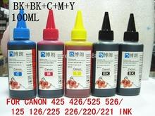 5 ink Dye Ink Premium 100ML 425 426 525 526 125 126 225 225  for CANON all 5 Color printer cartridge ciss Bottled ink Refill Kit