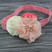 MOQ 1pcs Baby girl headband rose flower headband chiffon flower headband Newborn hair accessories photo prop 12color