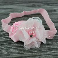 Free shipping Baby girl headband rose flower headband chiffon flower headband Newborn hair accessories photo prop 24pcs/lot