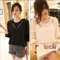 2014 fashion O-Neck shirts Loose Casual Woman blouses plus size lace patchwork batwing sleeve cutout  long-sleeve shirt 0638