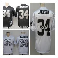 Oakland 34 Bo Jackson Throwback Rugby Jersey, Retro American Football Jerseys Men Sportswear Jackson Rugby Shirts