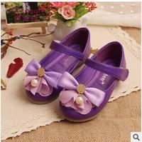 New 2014 Spring Autumn Children Girls Shoes Korean Girls PU Leather Shoes Baby Girls Flower Princess  kids Shoes D01-A105