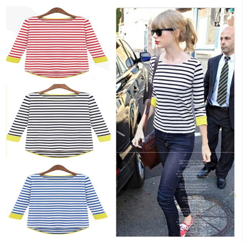 2014 Ladies ' Tops T -shirt , femininas, lazer O Pesco?o senhoras New Fashion Andorinha -Atada Stripe Camiseta , T das senhoras(China (Mainland))