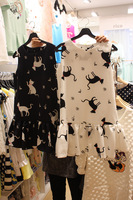 Free Shipping cat pattern sleeveless one-piece dress