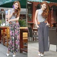 2014 New Summer Fashion Korean Women's Wide Leg Pants Loose Casual Plus Size Long Trousers 13 colors