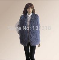 Hot Sale Hand Made High Quality Long Winter Genuine Lamb Fur Vest /Gilet Waistcoat /Mongolian Sheepskin Fur Vest F032