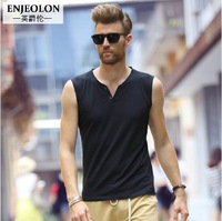 European and American men's short sleeve V-neck vest solid color sleeveless T-shirt men's half sleeve shirts