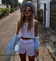 2014 New Fashion Summer Sheer Chiffon Top + Shorts Set two piece Crop top set