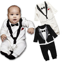 Baby Romper, baby boy's Gentleman Modeling romper infant long sleeve climb clothes kids outwear/clothes Freeshipping, TYP003