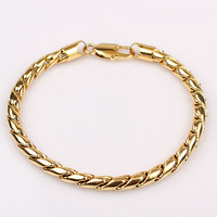 Classic 18k yellow gold filled womens bracelet&bangles rope link chain GF jewellery 20cm wide 0.5cm