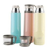 NEW!!! Portable fashion 500ml vacuum Flask 304 stainless steel with Tritan Plastic /Press Type Stopper/Hand Cup Lid