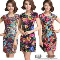 2014 Korean version of the new summer fashion milk silk flower multicolor big Slim dress code